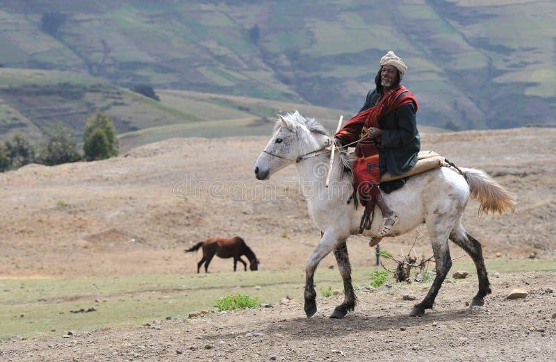 Jinete etíope del caballo foto de archivo libre de regalías