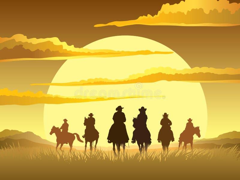 Jinetes del caballo ilustración del vector