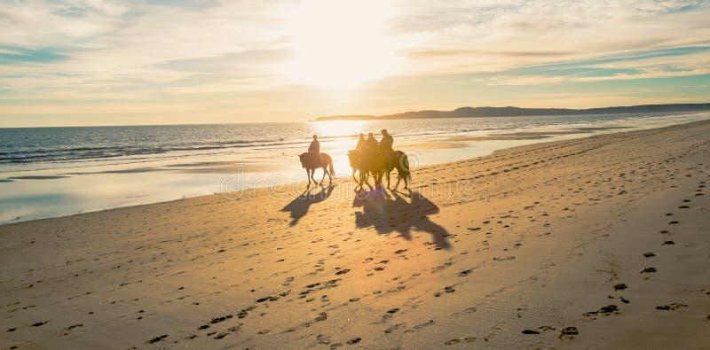 Jinetes traseros del caballo en la playa de Limantour con puesta del sol foto de archivo libre de regalías