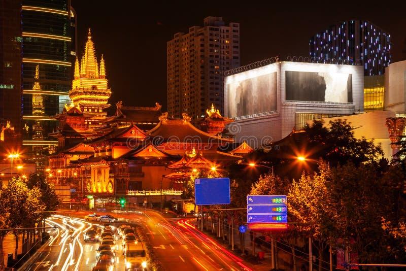 Jing寺庙公园南京街道上海中国 库存图片