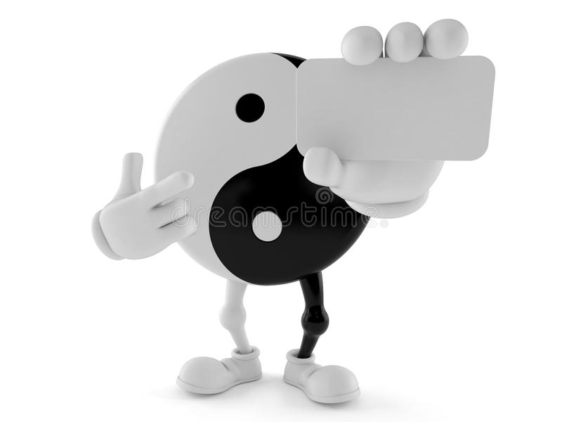 Jing Jang character holding blank business card. Isolated on white background. 3d illustration stock illustration