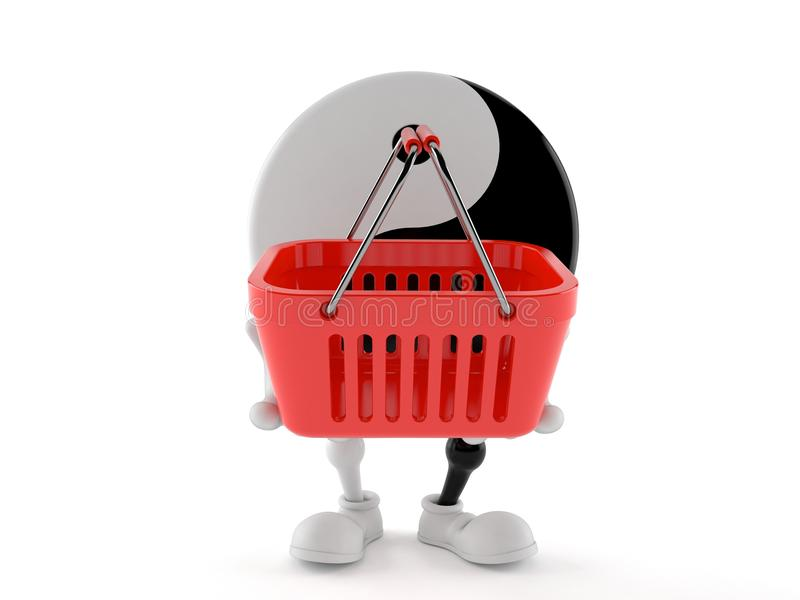Jing Jang character holding shopping basket. Isolated on white background. 3d illustration vector illustration