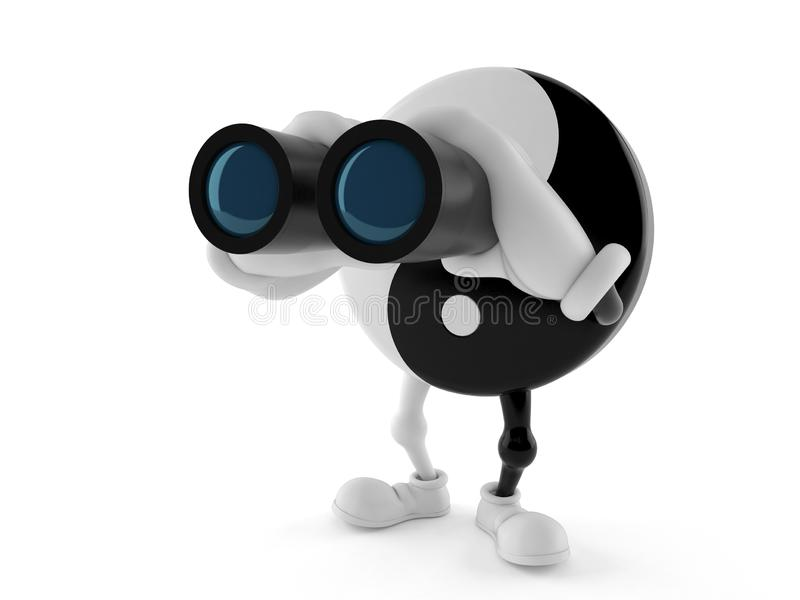 Jing Jang character looking through binoculars. Isolated on white background. 3d illustration royalty free illustration