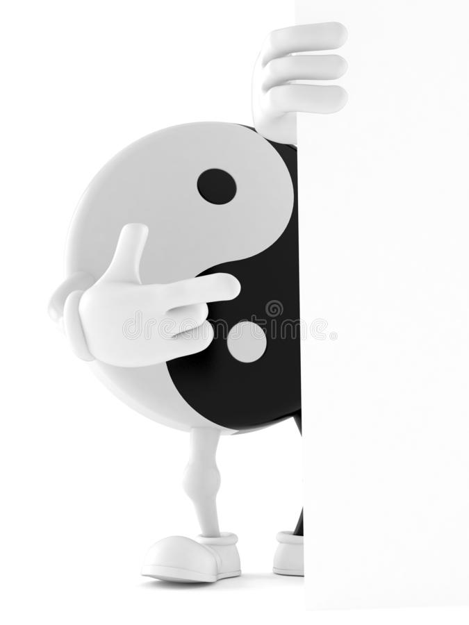 Jing Jang character pointing behind white board. Isolated on white background. 3d illustration royalty free illustration