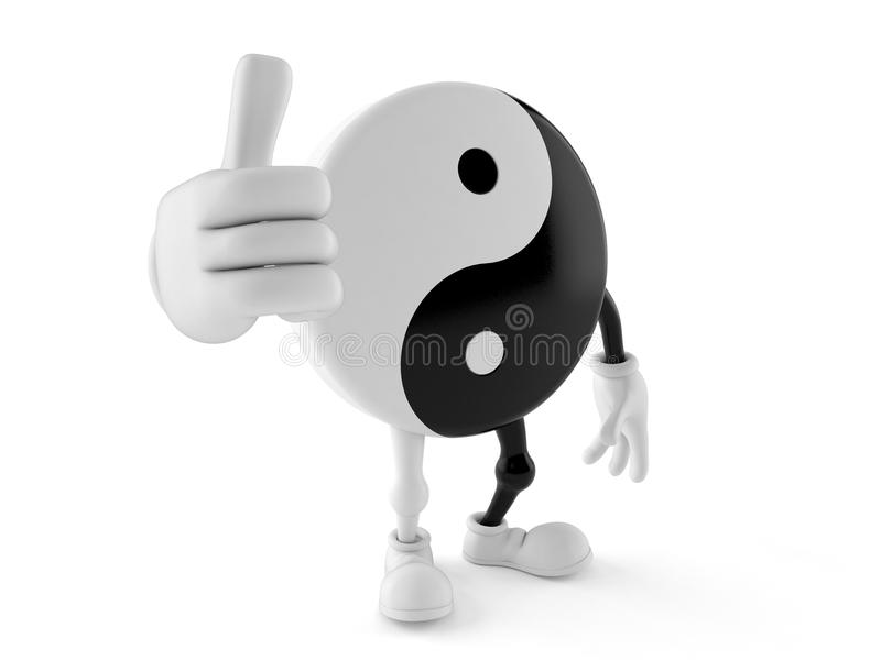 Jing Jang character with thumbs up gesture. Isolated on white background. 3d illustration vector illustration