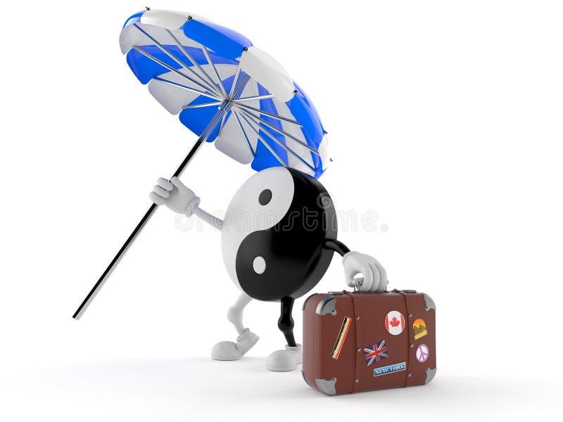 Jing Jang-Charakter mit Sonnenschirm und Koffer stock abbildung