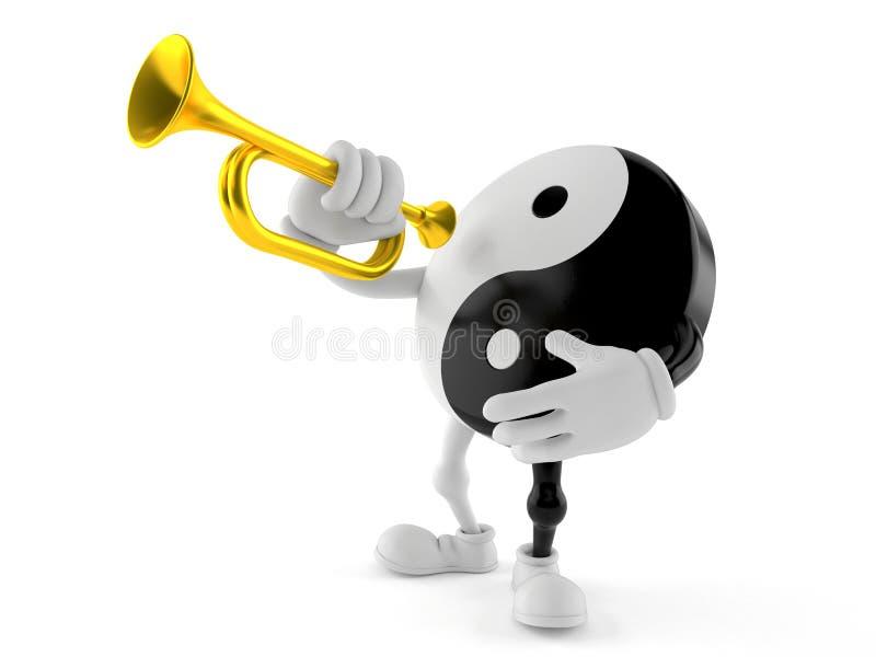 Jing Jang tecken som spelar trumpeten stock illustrationer