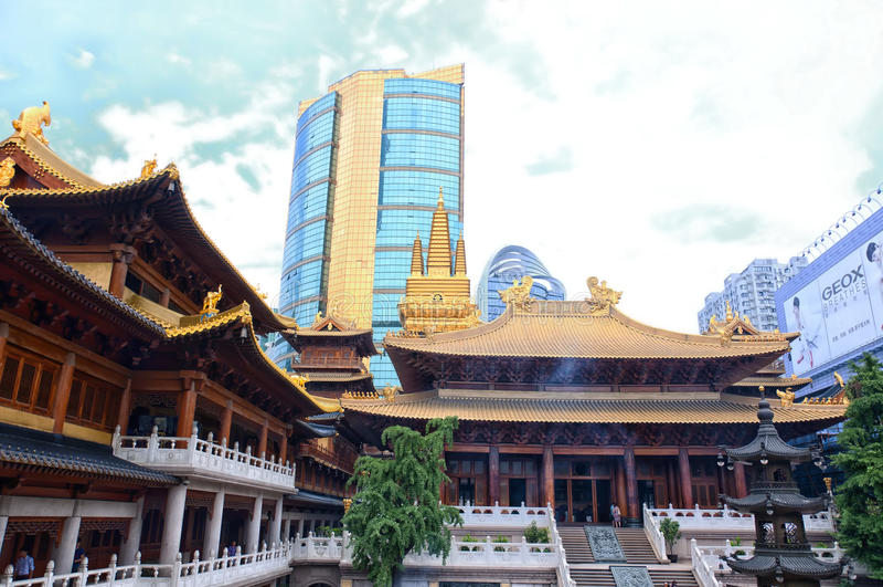 Jingan tempel royaltyfri fotografi