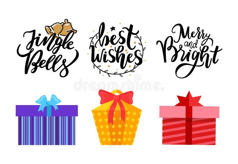 Jingle Bells, beste Wünsche, fröhliche helle Beschriftung lizenzfreie abbildung