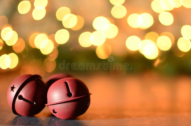 Jingle bells with bokeh background stock photos