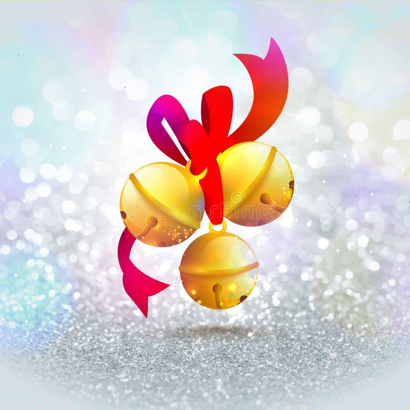 Jingle Bells dorato per il Buon Natale illustrazione vettoriale