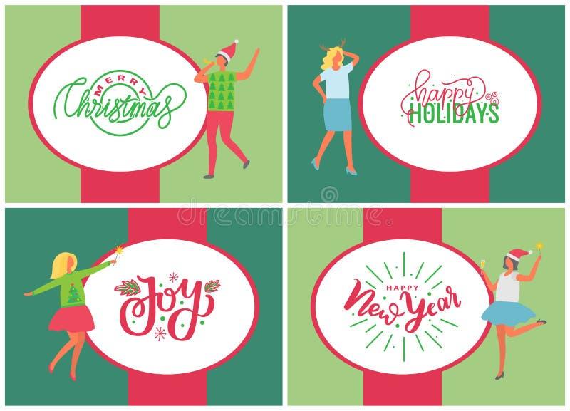 Jingle Bells Happy New Year et Joyeux Noël illustration stock