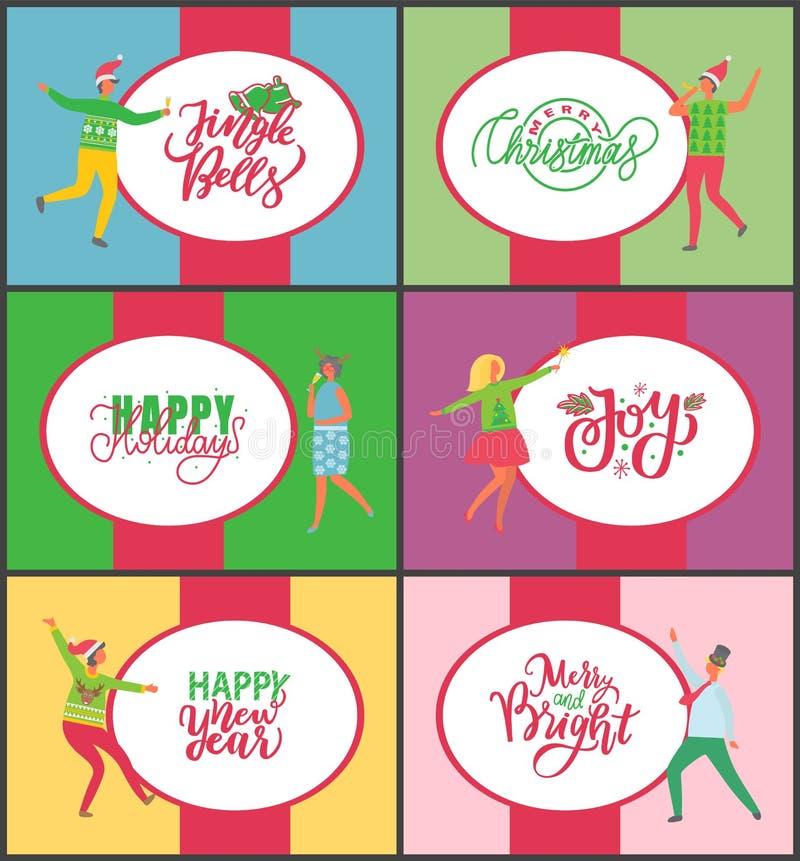 Jingle Bells Happy New Year und frohe Weihnachten stock abbildung
