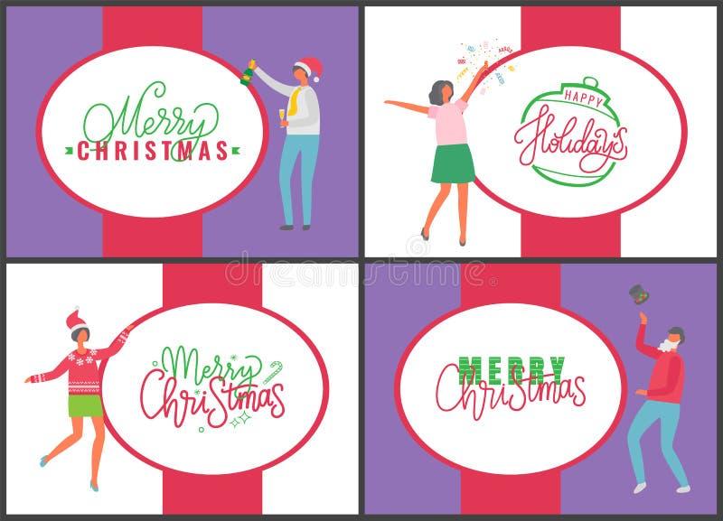 Jingle Bells Happy New Year und frohe Weihnachten lizenzfreie abbildung