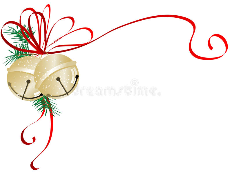 Jingle bells. Two golden jingle bells with red ribbon