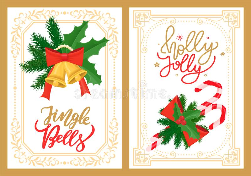 Jingle Bells und Holly Jolly Greetings, Weihnachten lizenzfreie abbildung