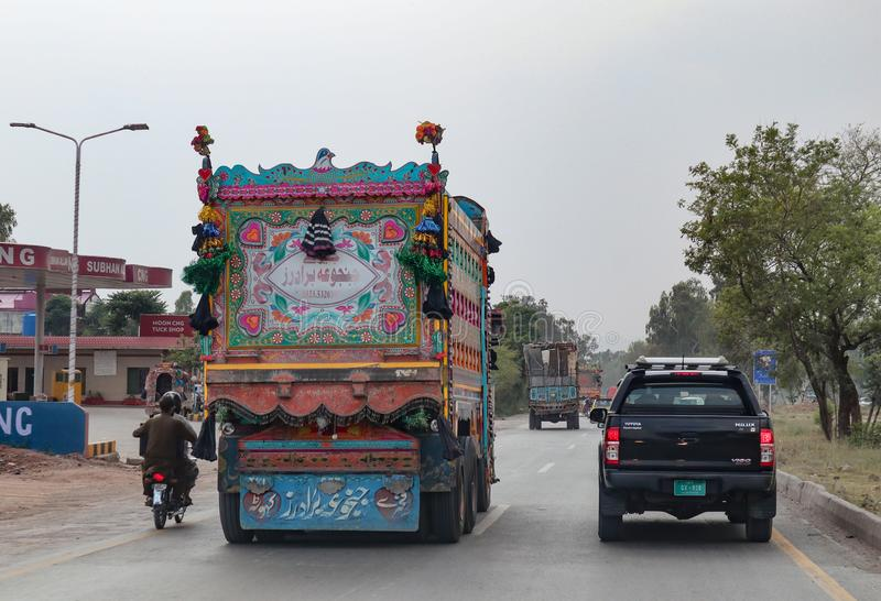 Jingle truck in Islamabad, Pakistan. Showing the truck art culture in South Asia stock image