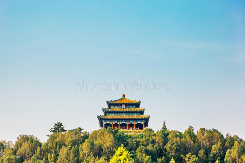 Jingshan Park, Chinese traditional pavilion on the hill at Beijing, China. Jingshan Park, Chinese traditional pavilion on the hill in Beijing, China royalty free stock photos