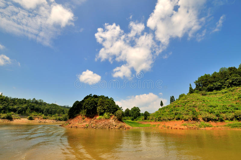 JinHu lake with mountains in Taining, China