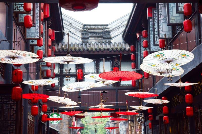 JinLi forntida gata i Chengdu royaltyfri bild