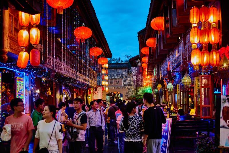 Jinli fot- gata Chengdu Sichuan Kina arkivbild