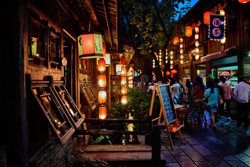 Jinli fot- gata Chengdu Sichuan Kina arkivbilder