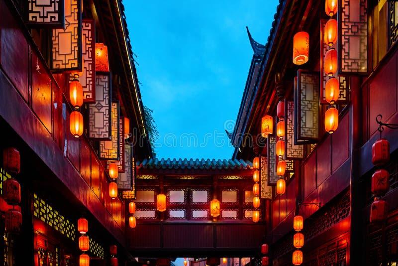 Jinli Pedestrian Street Chengdu Sichuan China. Chinese lanterns of Jinli Pedestrian Street in Chengdu Sichuan China royalty free stock photography
