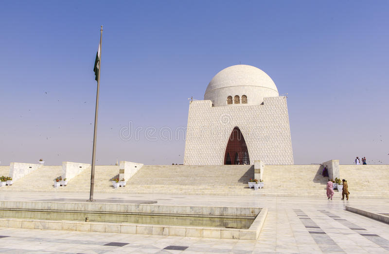 Jinnah Mausoleum in Karachi, Pakistan. This photo is taken in Karachi City, Pakistan. Mazar-e-Quaid, also known as the Jinnah Mausoleum or the National Mausoleum royalty free stock image