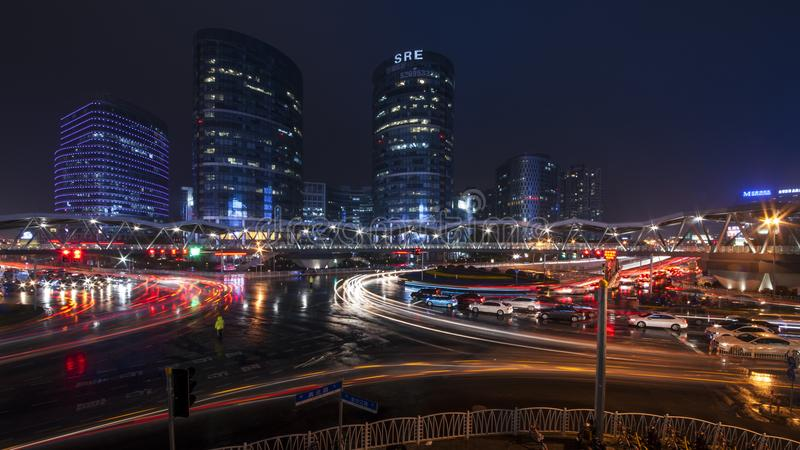 Jinsha River Road, Shanghai Junction Road Bridge main bridge. Length of 380.2 meters, 6 meters wide access net, escalator 4, 4 accessible elevators, the total stock image