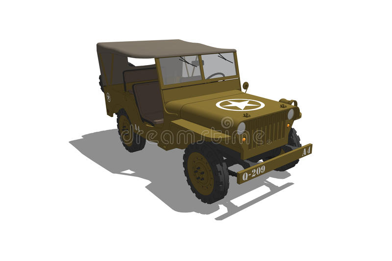 Jipe do exército dos EUA WW2 ilustração do vetor