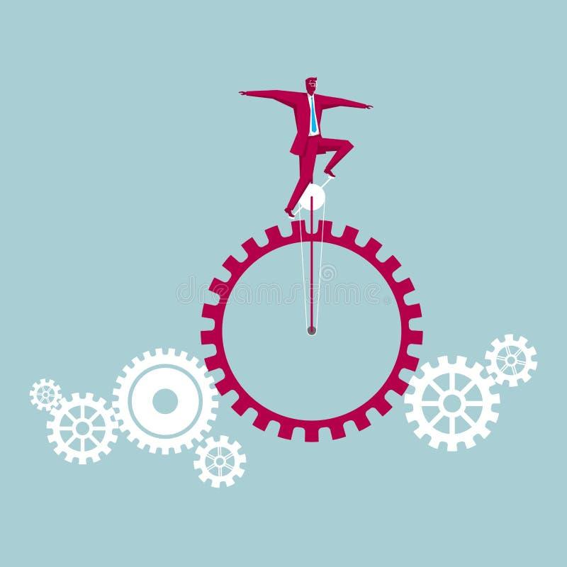 Jippokapaciteten, skottkärran kör på kugghjulen royaltyfri illustrationer