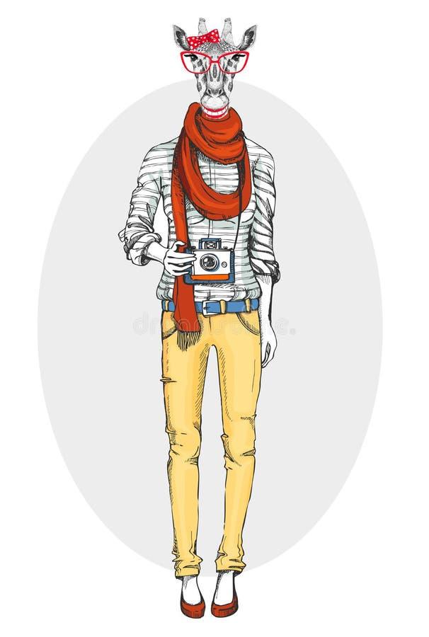 Jirafa animal de la muchacha del inconformista retro con la cámara de la foto Modelo de la mujer libre illustration