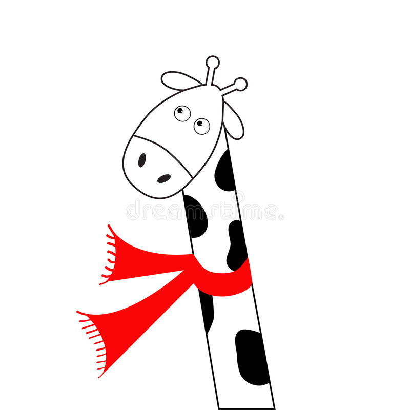 Jirafa blanca del negro lindo de la historieta que lleva la bufanda roja Camelopard con el cuello largo Carácter divertido Animal stock de ilustración