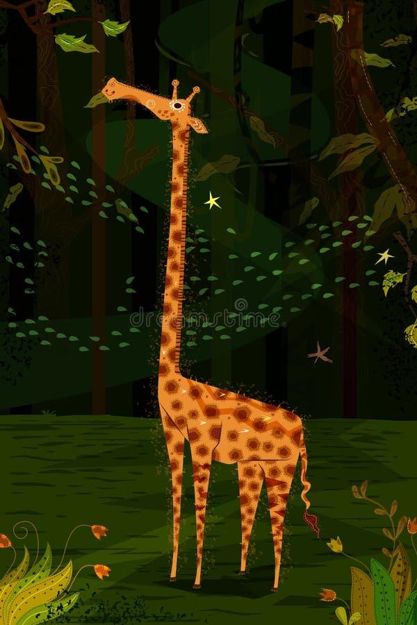 Jirafa del animal salvaje en fondo del bosque de la selva libre illustration