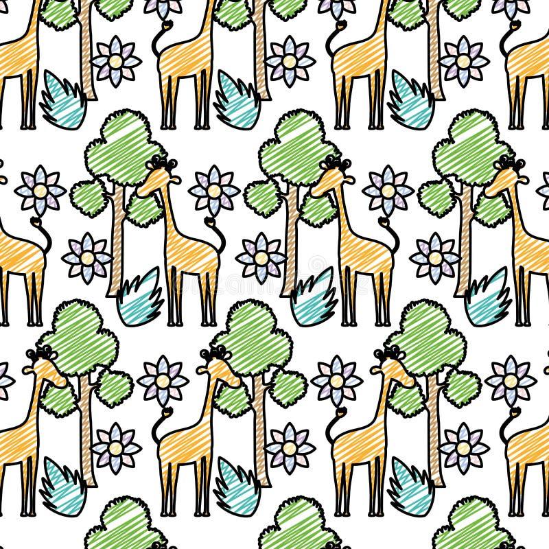 Jirafa del garabato con el fondo exótico de la flor y del árbol stock de ilustración