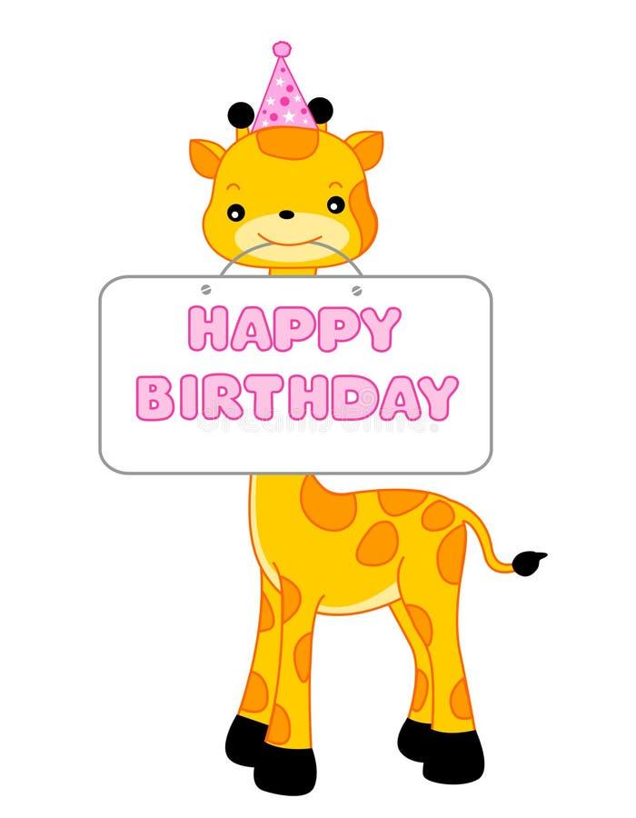 Jirafa del saludo del cumpleaños ilustración del vector