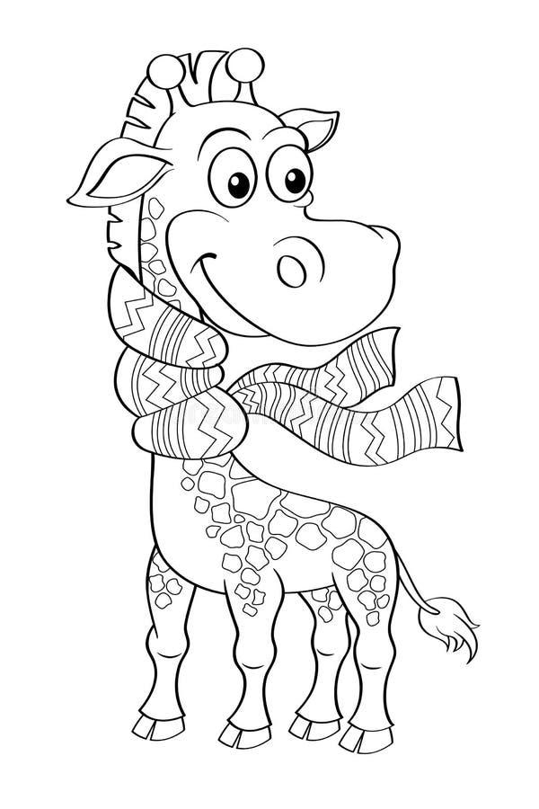 Jirafa divertida de la historieta con la bufanda ilustración del vector