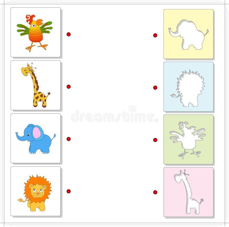 Jirafa, elefante, loro y león Juego educativo para los niños libre illustration
