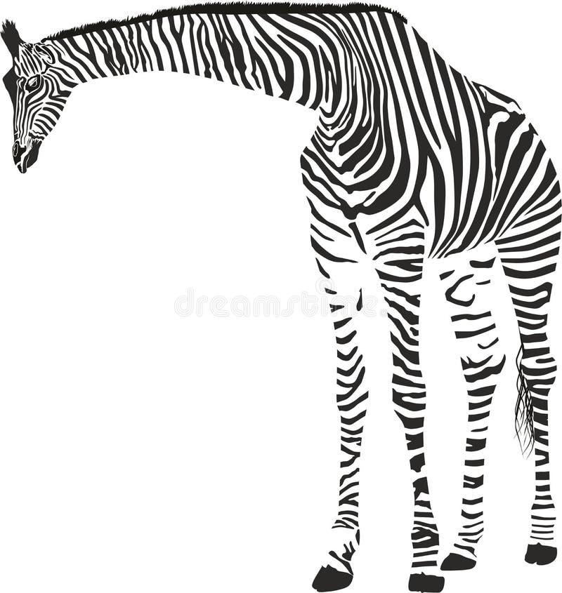 Jirafa en el camuflaje de la cebra stock de ilustración