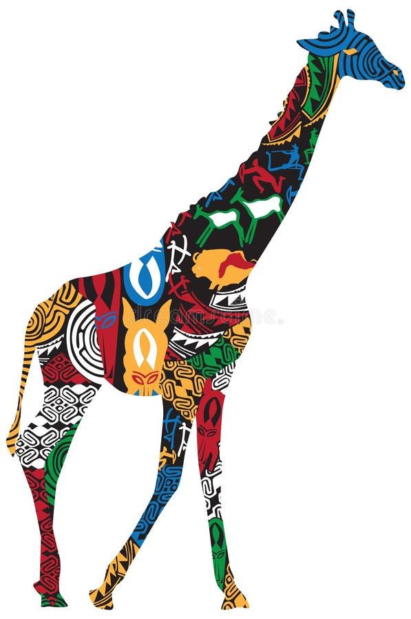 Jirafa en los modelos étnicos africanos stock de ilustración