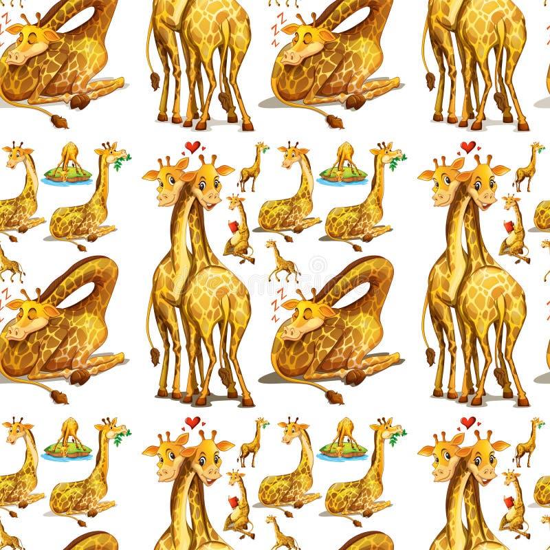 Jirafa inconsútil en diversas acciones stock de ilustración