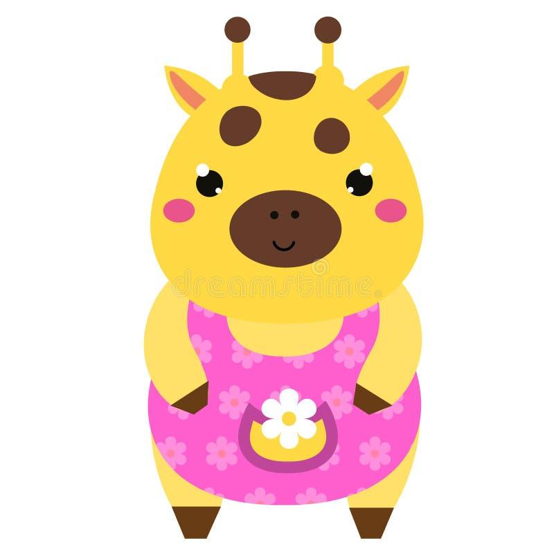 Jirafa linda en vestido rosado Carácter del animal del kawaii de la historieta Ejemplo del vector para los niños y la moda de los stock de ilustración