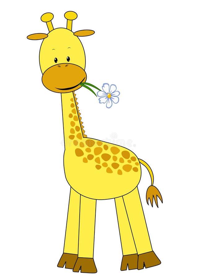 Jirafa y flor del bebé. ilustración del vector. Ilustración de ...