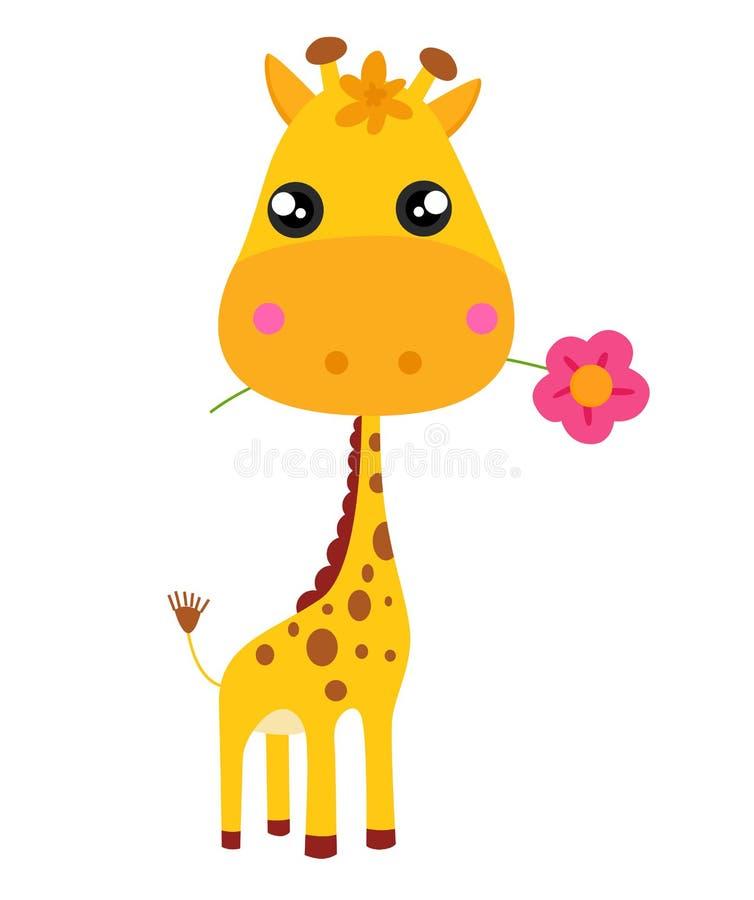 Jirafa y flor del bebé ilustración del vector. Ilustración de ...