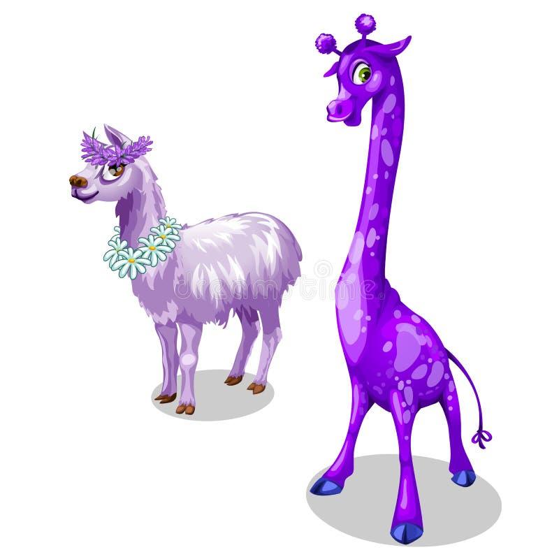 Jirafa y lama divertidos en color púrpura Vector stock de ilustración