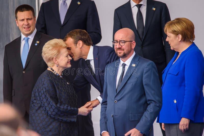 Jiri Ratas, Dalia Grybauskaite, Emmanuel Macron, Charles Michel, Angela Merkel photographie stock libre de droits