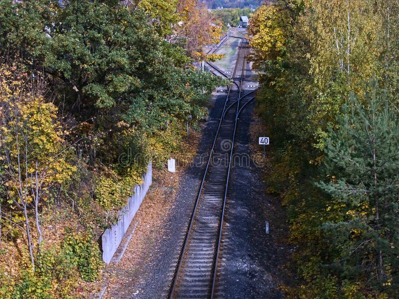 Jirkov, Czech republic - October 22, 2019:  empty train track leading from Chomutov city to Jirkov city in autumn. Jirkov, Czech republic - October 22, 2019 stock images