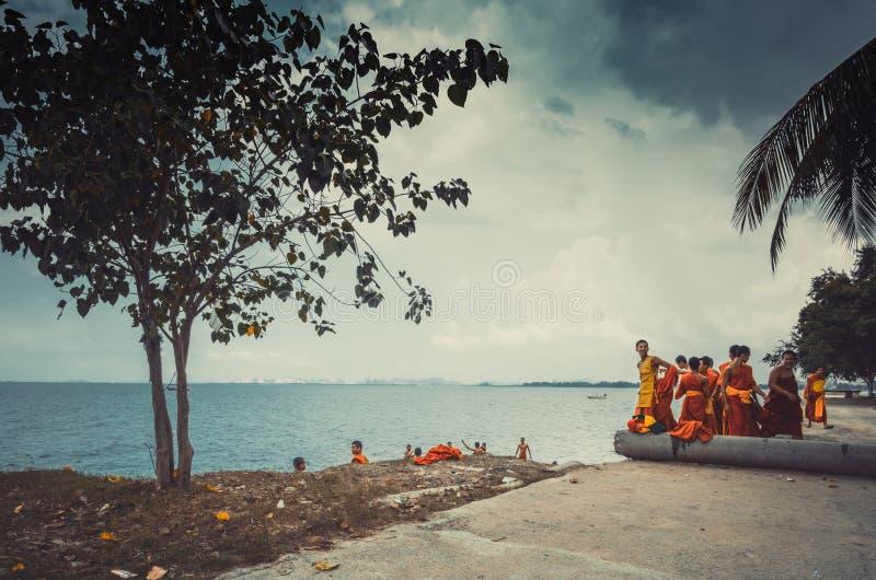 Jittapawan buddistisk skola - Thailand arkivfoto