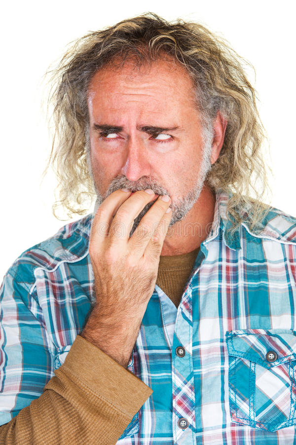Jittery Man Biting Nails stock photo. Image of hands - 53103536