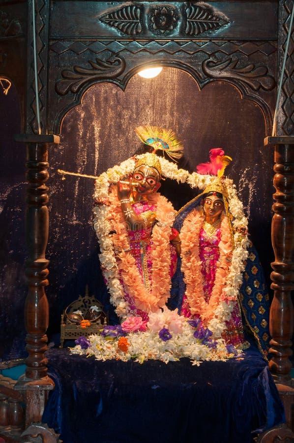 Jiu de Madanmohan y ídolo de Radha, Bishnupur, la India imagen de archivo